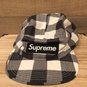 Supreme Large Gingham Black and White Camp Hat